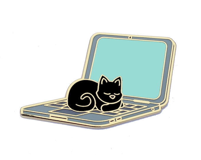 Cat Sleeping on Laptop Pin - Computer Pin - Cat Pin - Glow in the Dark - Enamel Pin Cat