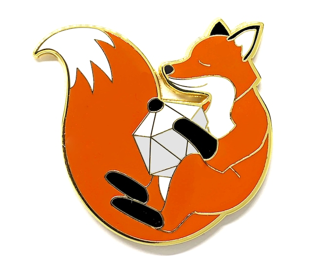 Fox Pin - D20 Pin - Cute Pin - RPG - Tabletop Role Playing Game - Dice Bag Accessory - Gamer Gift