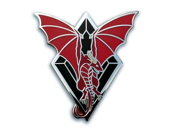 Flying Dragon Hard Enamel Pin, Wyvern Pin, Fantasy Pin, Dragon Jewelry, Dragon Wings