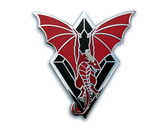 Flying Dragon Hard Enamel Pin, Wyvern Pin, Fantasy Pin, Dragon Jewelry, Dragon Wings