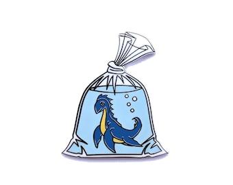 Loch Ness Monster in a Bag - Hard Enamel Pin