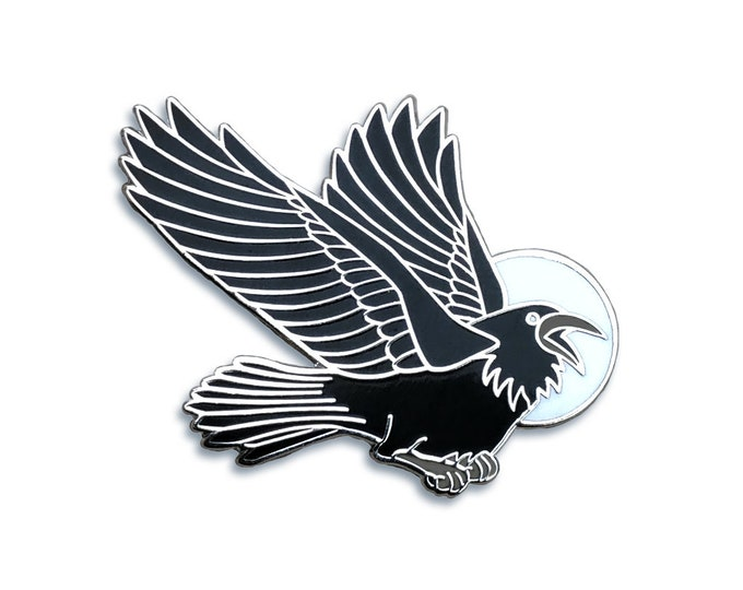 Raven Pin - Crow Pin - Black Bird Pin - Blackbird Pin - Hard Enamel Pin - Witch Pin - Goth pin Magic Pin- Moon Pin