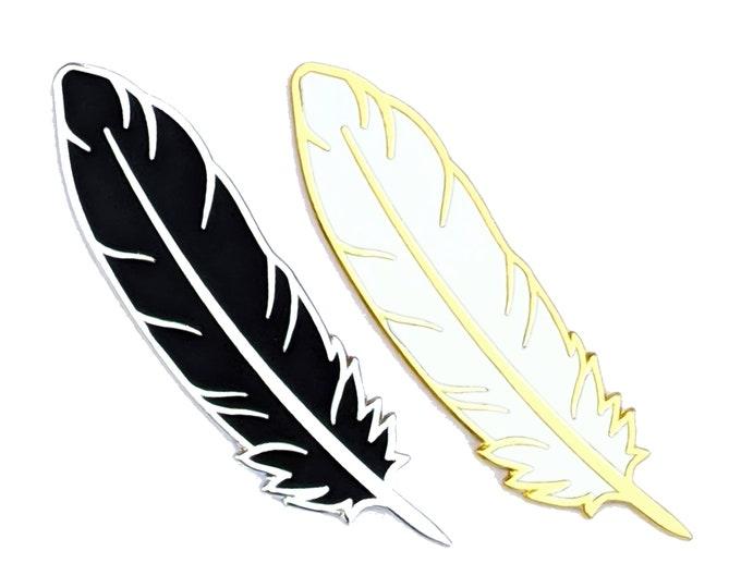 Black Feather Pin - White Feather Pin - Hard Enamel