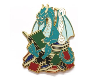 Book Dragon Pin - Jumbo Hard Enamel