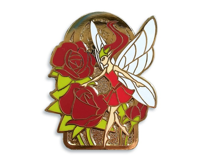 Rose Fairy Pin - Hard Enamel - Dark Skin or Light Skin