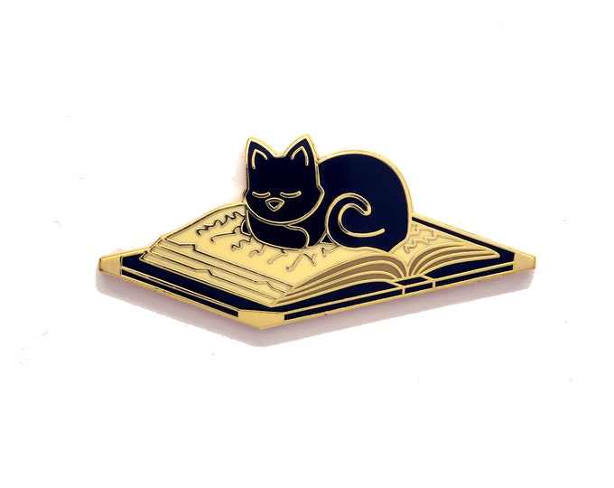 Cat Sleeping on Book Pin - Bookish Pin - Cat Pin - Enamel Pin Cat