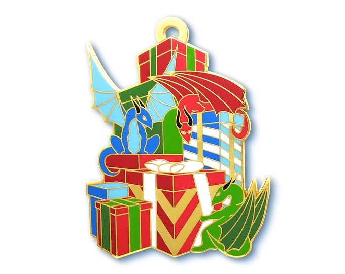 Christmas Presents Dragon Pin - Jumbo Hard Enamel