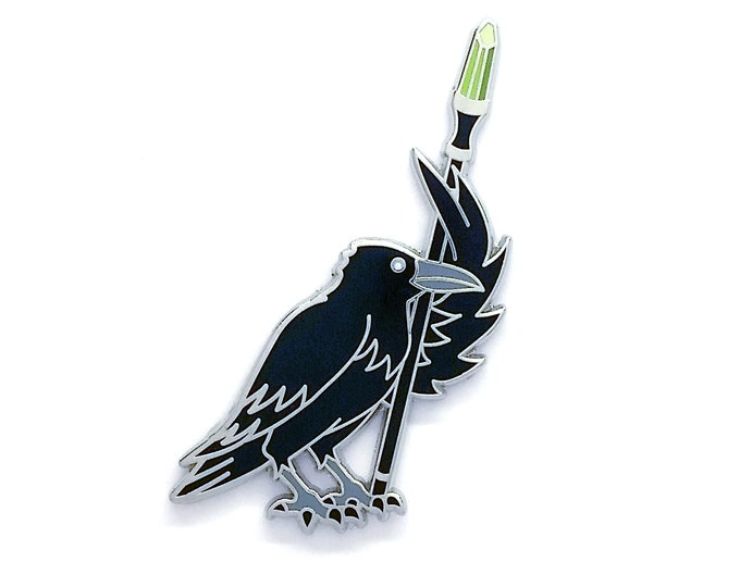Raven with Magic Wand Pin - Raven Pin - Crow Pin - Black Bird Pin - Hard Enamel Pin - Witch Pin - Witchy Pin