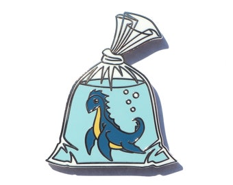 Cryptid Pin, Loch Ness Monster Pin, Nessy Pin, Goldfish in a Bag Pin,  Seconds Sale,  Enamel Pin, Anime Pin, Fish in a bag Pin