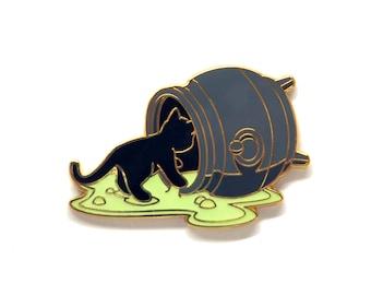 Spilled Cauldron Pin - Glow Pin - Witch Pin - Cat Pin - Enamel Pin Cat