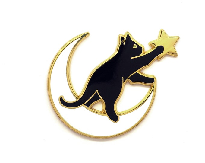 Cat on the Moon Pin - Cat playing with Star Pin - Reach for the Stars Pin - Cute Cat Pin - Enamel Pin Cat