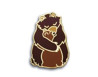 Bear Pin, Bear Hug Pin, Mother Pin, Father Pin, Enamel Pin, Mama Bear Pin, Mothers day Pin, Cute Pin, Mother's Day Pin, Hug Pin, Snuggle Pin
