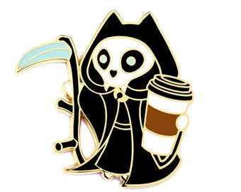 Death and Coffee Cat Pin - The Kitty Grim Reaper Hard Enamel Pin