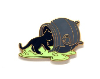 Spilled Cauldron Pin - Glow Pin - Witch Pin - Cat Pin - Enamel Pin Cat