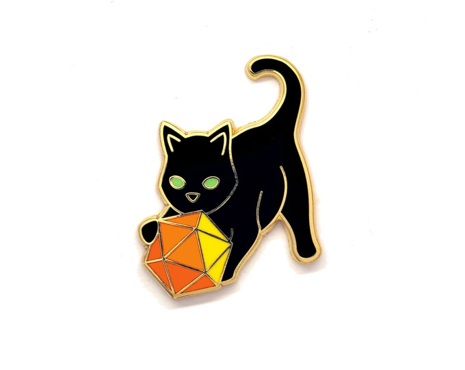 Cat with D20 Pin - Tabletop RPG Pin - Dice Cat Pin - Sacred Geometry Cat - Enamel Pin Cat