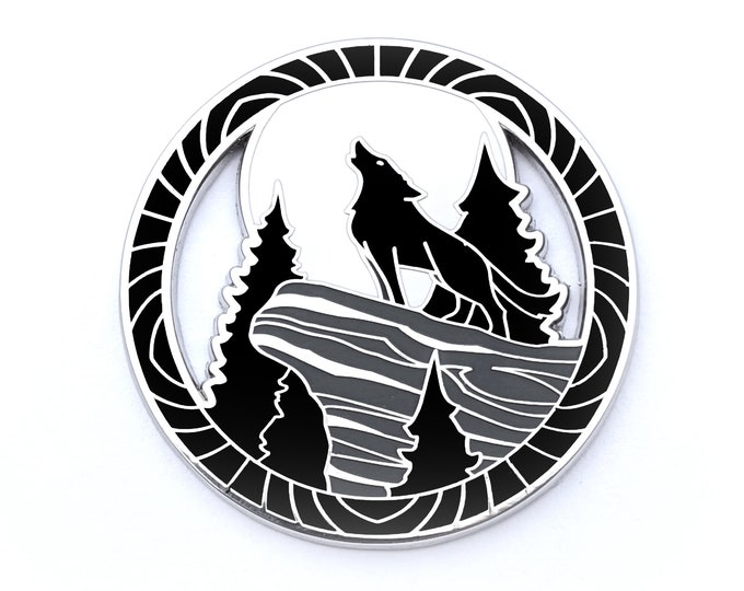 Encircled Wolf Pin - Hard Enamel