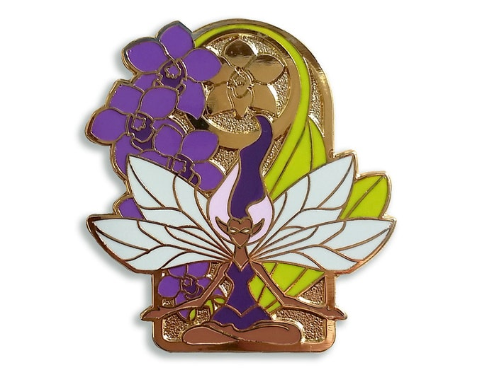 Orchid Fairy Pin - Hard Enamel - Dark Skin or Light Skin