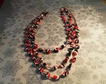 gorgeous 3 row stylish, handcrafted, original, colorful Necklace (black, red and white)