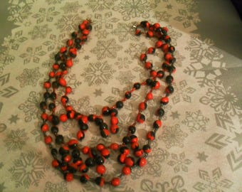 original black and Red polymer clay necklace