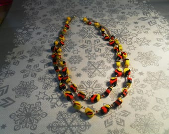 beautiful unique, stylish, handcrafted, original, colorful Necklace (black, red and yellow)