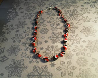 beautiful unique, stylish, handcrafted, original, colorful Necklace (black, red and white)