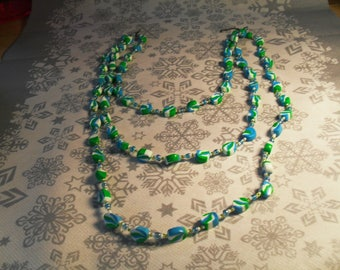 gorgeous 3 row stylish, handcrafted, original, colorful Necklace (turquoise, green and white)