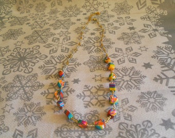 trendy, original necklace, colorful (multicolor)