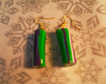 beautiful earrings, stylish, handcrafted (green, purple and white)