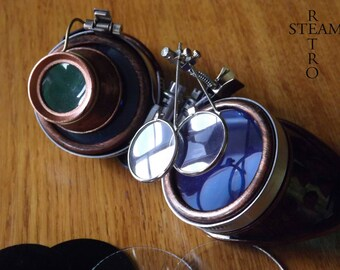 Bronze steampunk sunglasses - double Burl cyber blue lenses sunglasses burning man steampunk - Christmas gift accessories
