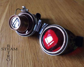 bronze red steampunk with magnifying glasses learned crazy cyber goggles burning man steampunk accessories