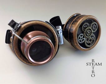 steampunk copper with magnifying glasses burning learned crazy cyber goggles steampunk with gears men accessories