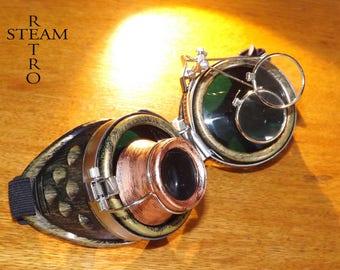 Bronze steampunk sunglasses - double green lenses sunglasses cyber Burl burning man steampunk - Christmas gift accessories