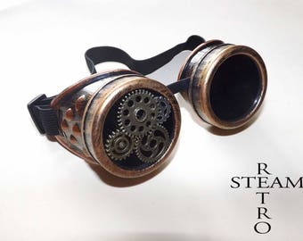Steampunk Goggles Glasses AVIATOR Cyber Goth accessories steampunk welder mad max road Thunder glass lenses