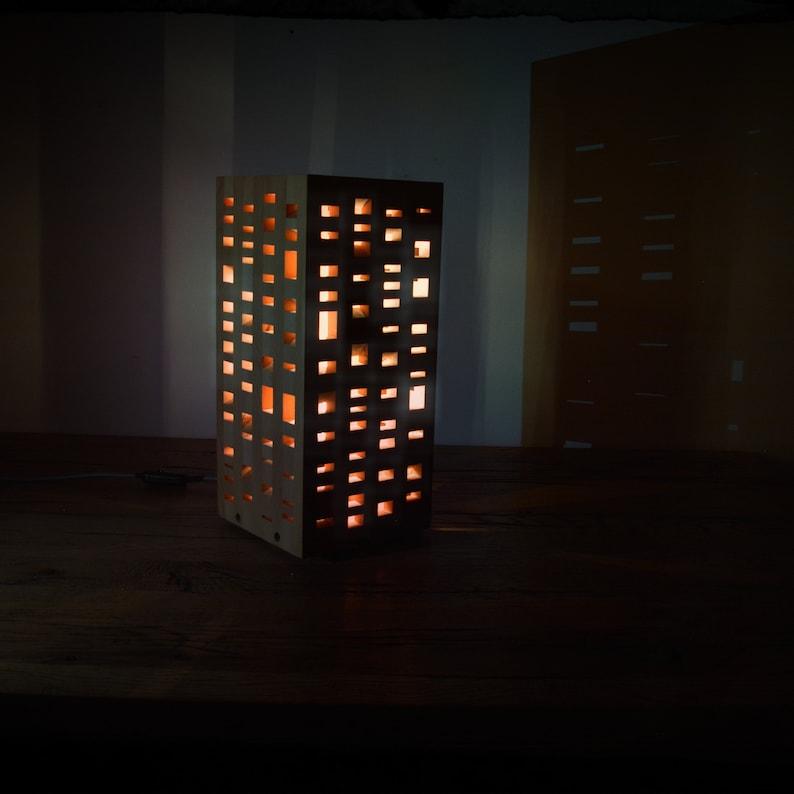 Lightning Lamp Wooden lamp Table lamp Unique design Cubic lightning design Solid OAK wood Home decor L002 GENBLOCK Modern lamp