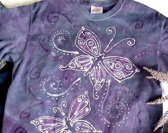 Butterfly shirt, hippie shirt women, tie dye shirt, boho festival clothing, summer shirt, festival shirt, hippie clothing, size medium 38-40