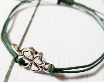 Lucky charm bracelet, Clover bracelet, St Patricks day bracelet, adjustable, four leaf clover, Lucky you, bracelet, St Patricks day gift