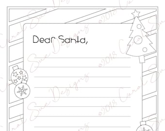 dear santa letter coloring page for kids digital download letter to santa printable santa stationary christmas tree design
