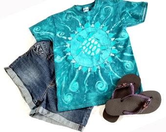 Turtle batik shirt tie dye shirt, hippie shirt women, boho festival clothing, summer shirt, festival shirt, hippie clothing size small 34-36