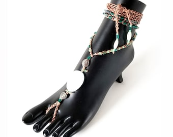 Tan and Green crochet barefoot sandals for women, boho jewelry, hippie jewelry, summer beach foot jewelry, beaded yoga body barefoot sandals