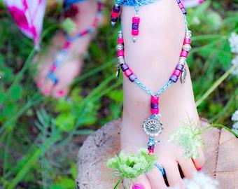 Tree of Life crochet barefoot sandals for women, boho jewelry, hippie jewelry, summer beach foot jewelry, beaded yoga body barefoot sandals