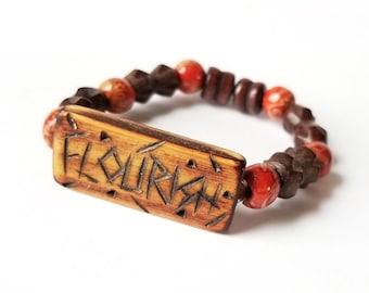 Flourish elastic bracelet, beaded bracelet, wood bead bracelet, word bracelet, gifts for him, gifts for her, gifts for teen girls boys
