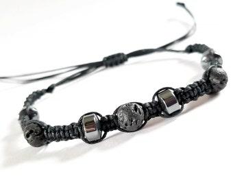 Black Lava rock adjustable bracelet, Beaded bracelets for men, diffuser bracelet, Stocking stuffers for teen boys, basket stuffers