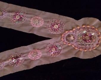 Bib mesh and ecru coloured beads
