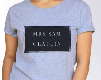 Sam Claflin T shirt - White and Grey - 3 Sizes