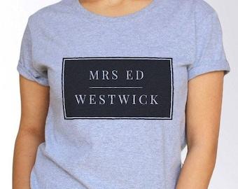 Ed Westwick T shirt - White and Grey - 3 Sizes