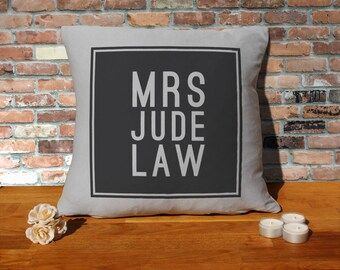 Jude Law Pillow Cushion - 16x16in - Grey