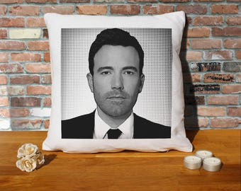 Ben Affleck Pillow Cushion - 16x16in - White