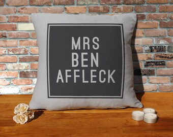 Ben Affleck Pillow Cushion - 16x16in - Grey