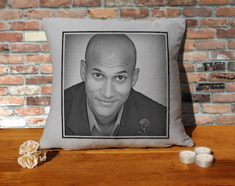 Keegan-Michael Key Pillow Cushion - 16x16in - Grey
