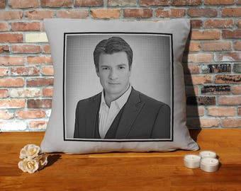 Nathan Fillion Pillow Cushion - 16x16in - Grey